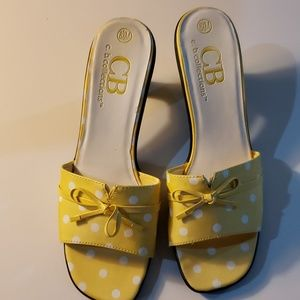 C.B.Collections yellow white polka dot shoes